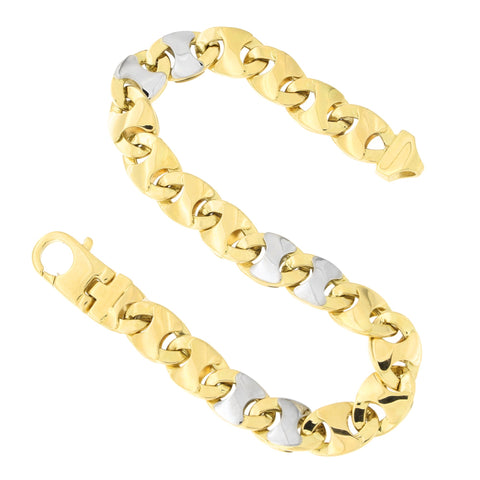 Mens' 14k Yellow and White Gold Two-Tone 9.0mm Oval Link Bracelet, 8.5 inches