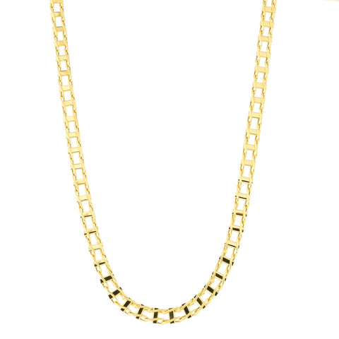 Mens' 14k Yellow Gold 5.4mm Ladder Link Chain Necklace, 20 inches
