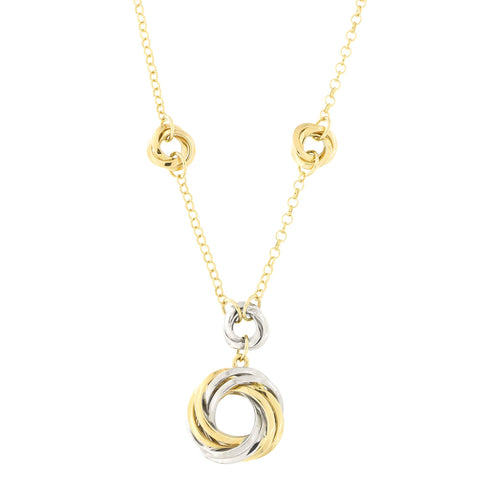 14k Yellow and White Gold Two Tone Twisted Open Circle Love Knot Station Pendant Necklace, 17""