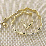 14k Yellow and White Gold Two-Tone Curved Link Bracelet, 7.25""