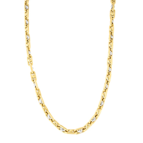 Mens' 14k Yellow and White Gold Two-Tone 5.8mm Spiked Cable Chain Necklace, 22 inches