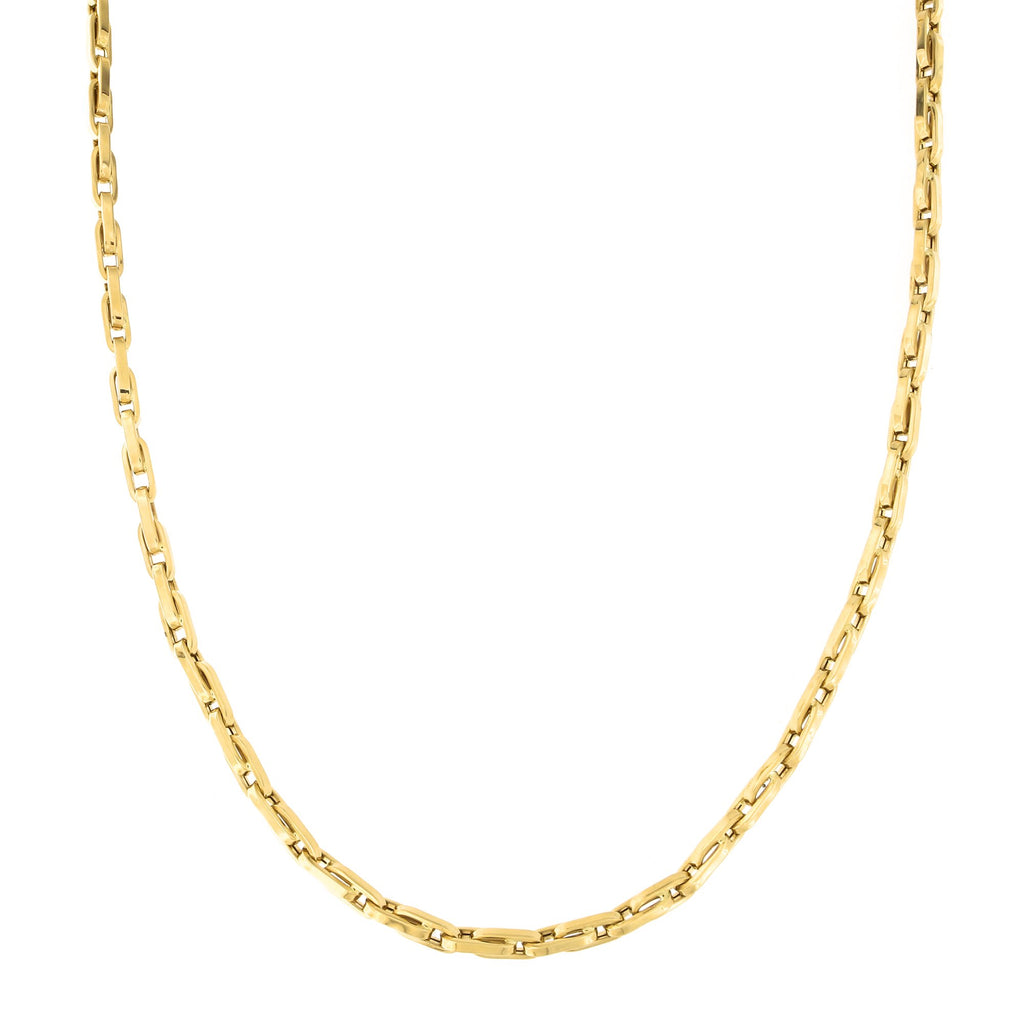 Mens' 14k Yellow Gold 4.5mm U Link Chain Necklace, 22 inches