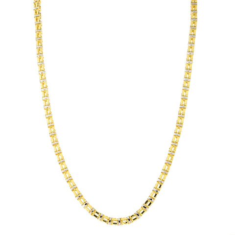 Mens' 14k Yellow and White Gold Two-Tone 5.0mm Double Box Chain Necklace, 24 inches