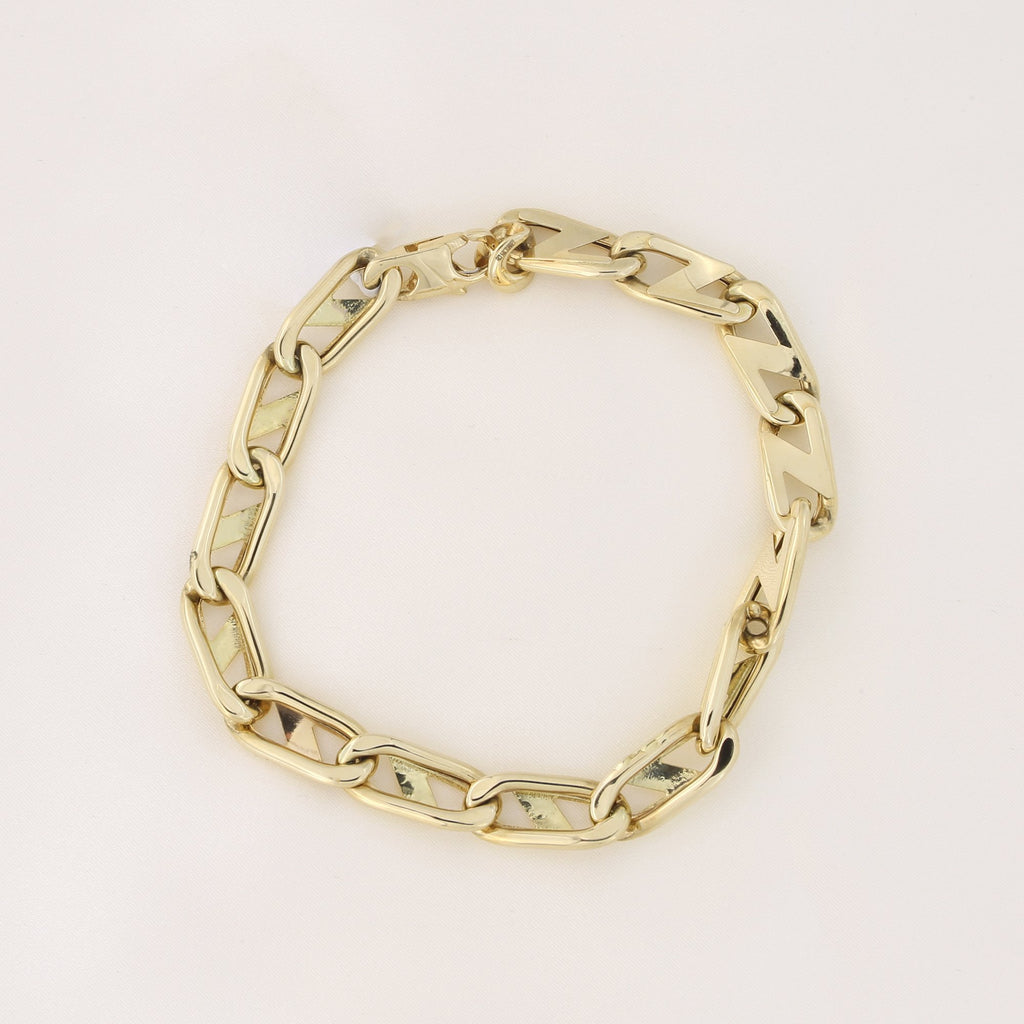 0cf1336b55cfd Mens' 14k Yellow Gold 8.2mm Slanted Fancy Mariner Link Chain Bracelet, 8.5  inches