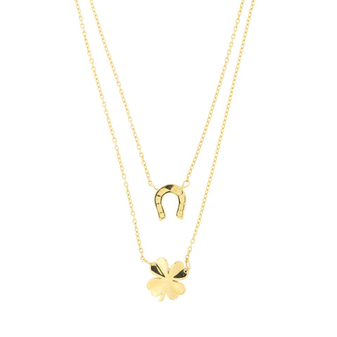 14k Yellow Gold Horseshoe Four Leaf Clover Good Luck Charm Double Layer Pendant Necklace, 17""