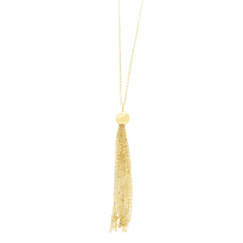 14k Yellow Gold Diamond Cut Cable Chain Ball Multi Strand Tassel Pendant Necklace, 18""