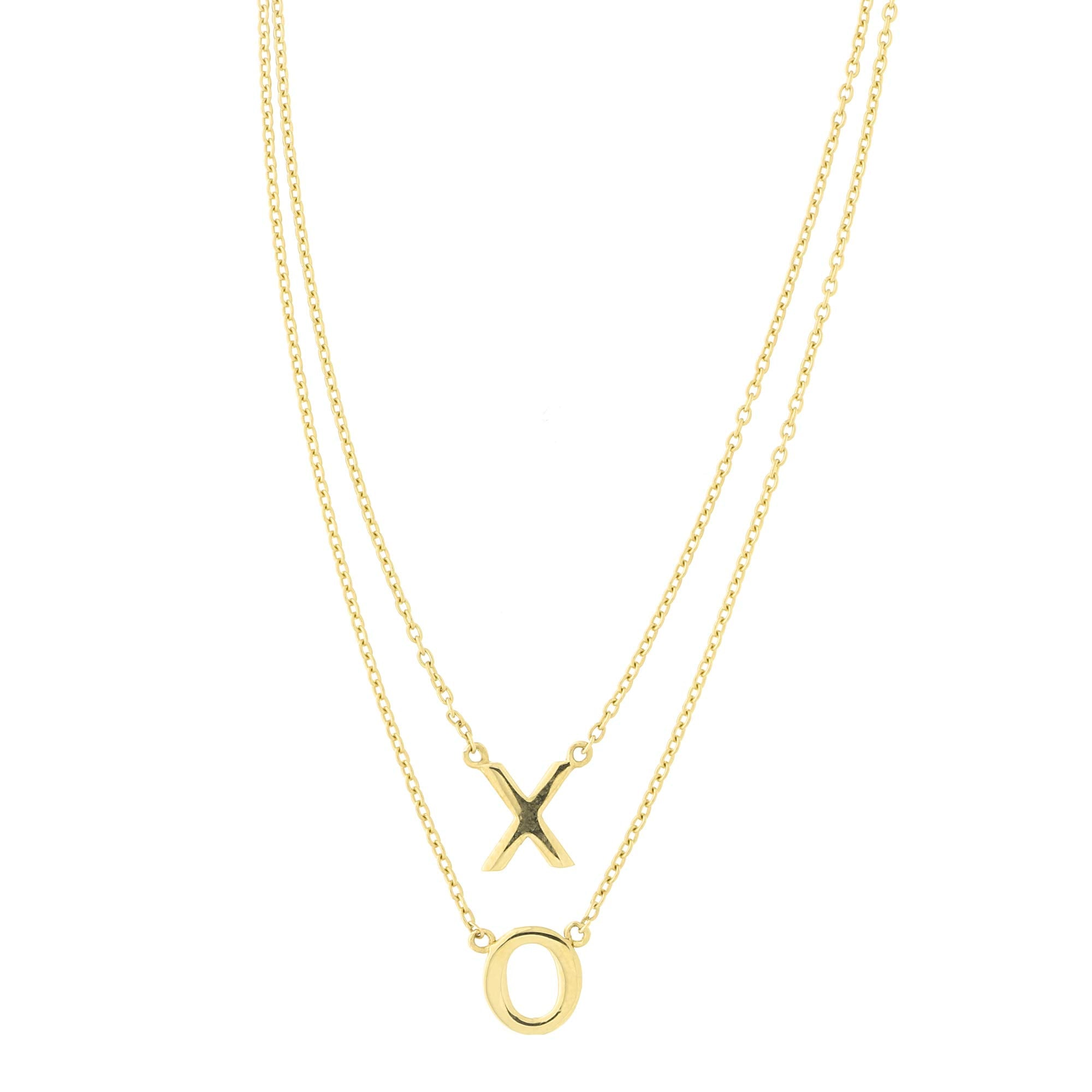 572ba9b504321 14k Yellow Gold X and O Double Layer Pendant Necklace, 17