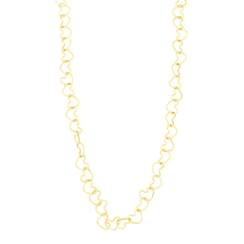 14k Yellow Gold Heart Link Chain Necklace and Bracelet Set