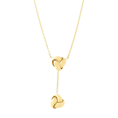 14k Yellow Gold Diamond Cut Cable Chain Double Love Knot Drop Lariat Necklace, 16.5""