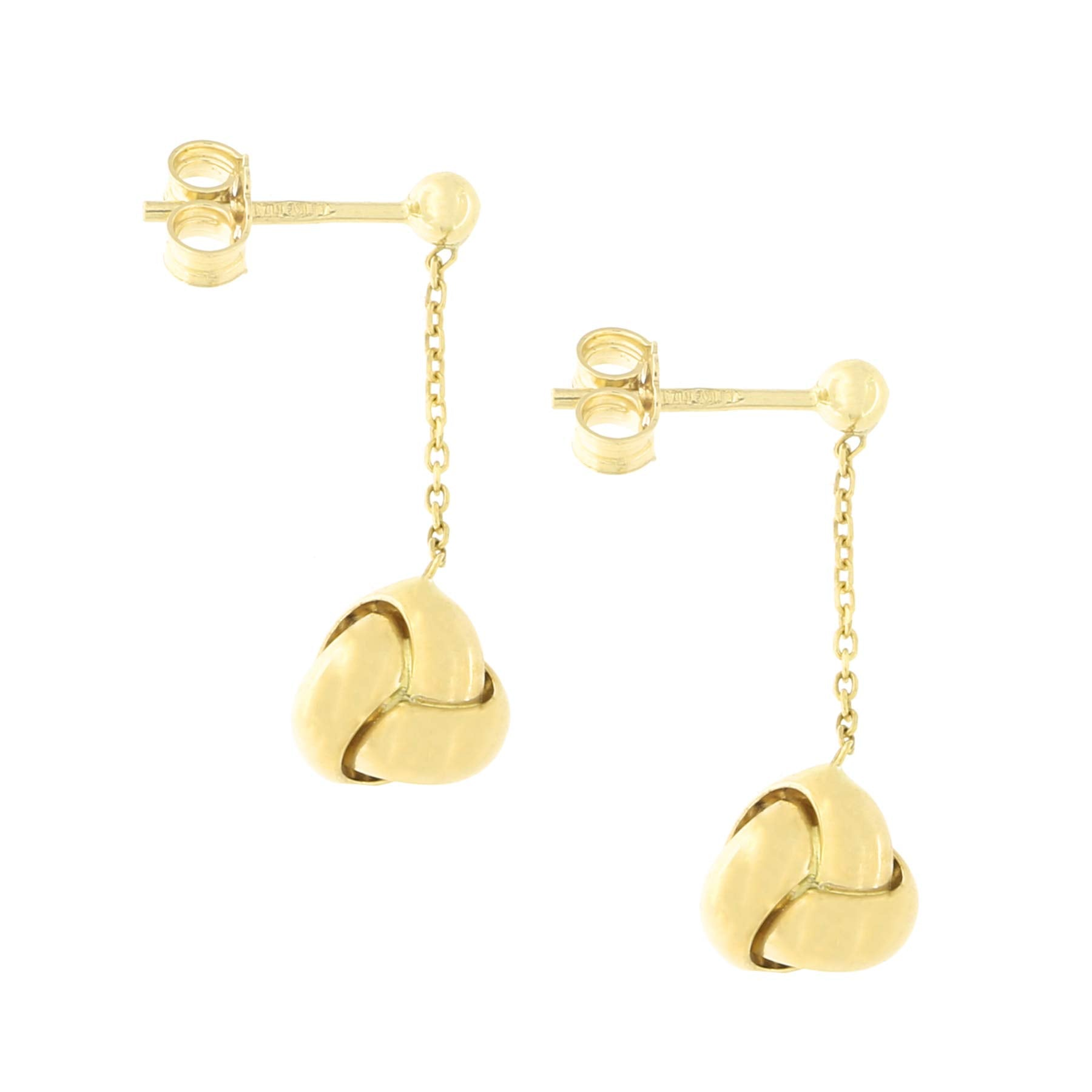14k Yellow Gold Diamond Cut Cable Chain Love Knot Drop Lariat Necklace and Dangle Earrings Set