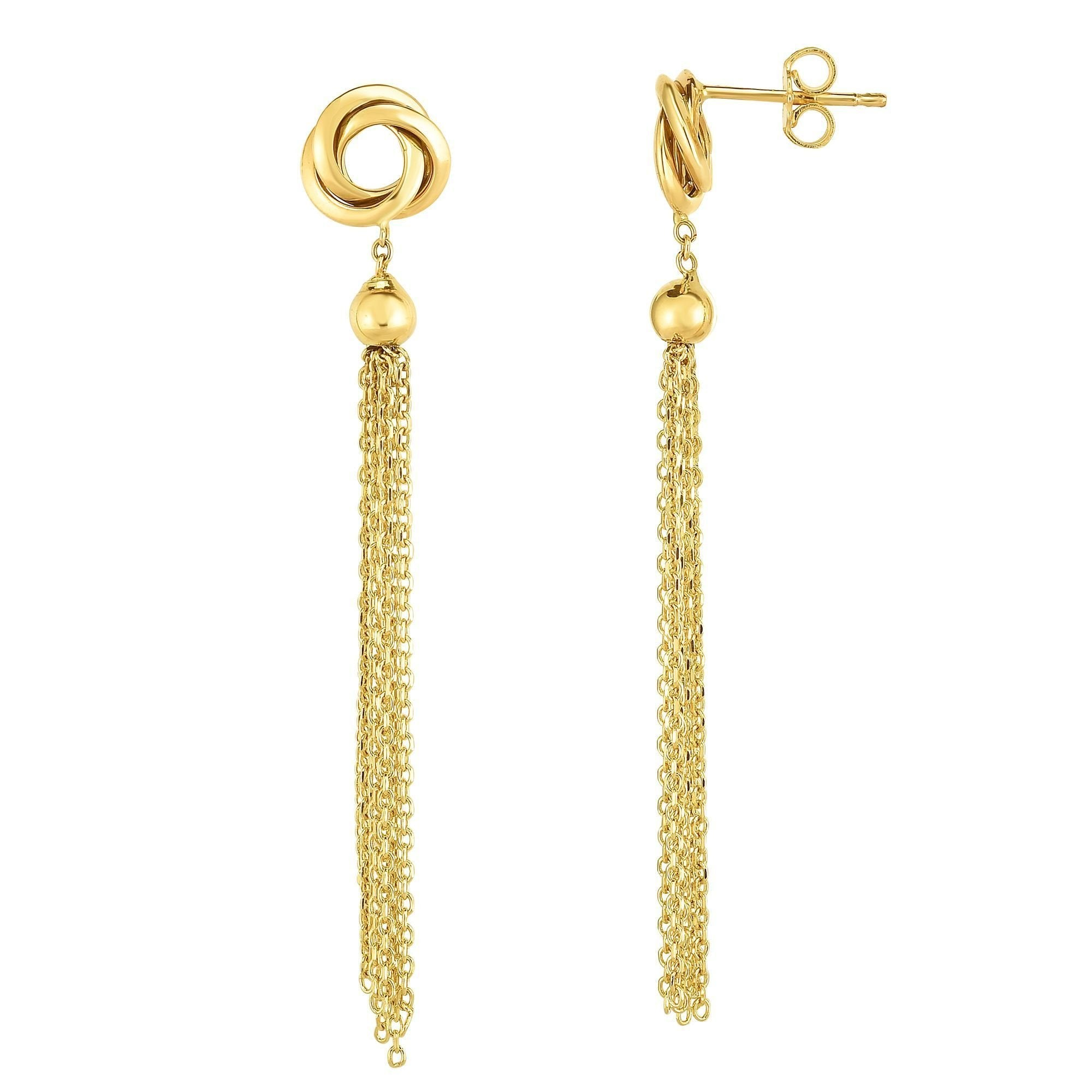 14k Yellow Gold Diamond Cut Cable Chain Tassel Love Knot Pendant Necklace and Dangle Earrings Set