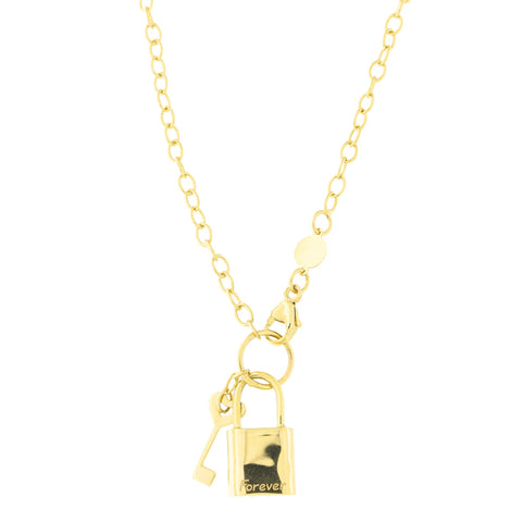 14k Yellow Gold Oval Link Chain Forever Lock and Heart Key Pendant Necklace and Charm Bracelet Set