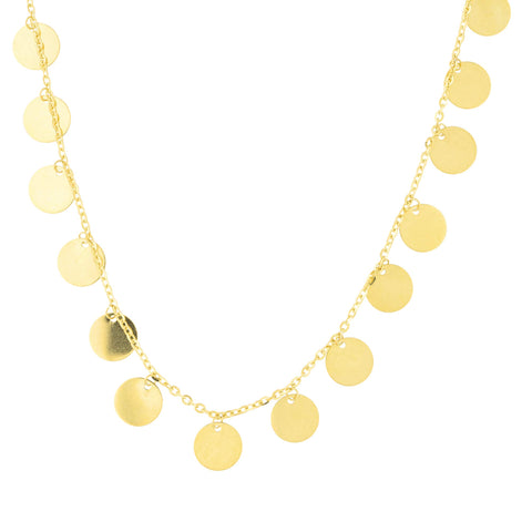 "14k Yellow Gold Diamond Cut Cable Chain Polished Round Disc Station Choker Necklace, 14""-16"""