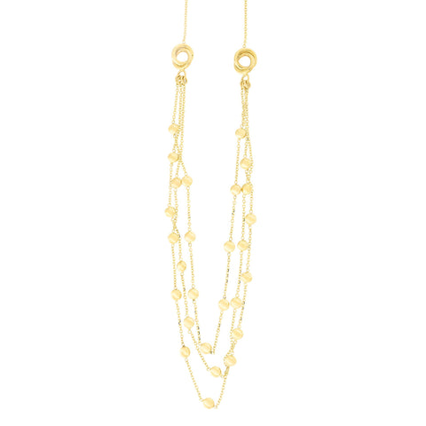 14k Yellow Gold Triple Layer Flat Discs Love Knot Station Necklace and Dangle Earrings Set