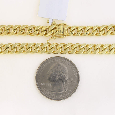 Men's 14k Yellow Gold 6.1mm Lightweight Classic Miami Cuban Chain Bracelet with Box Clasp, 8.5""