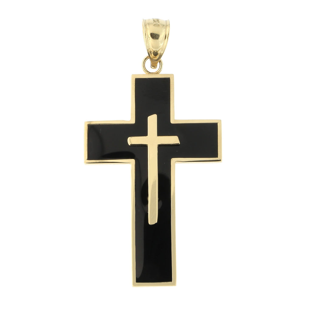 Men's 14k Yellow Gold Black Enamel Cross Pendant