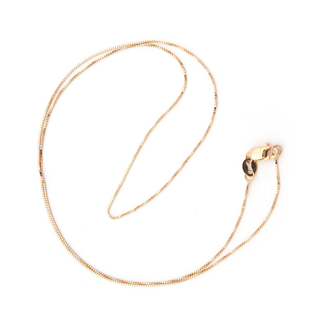 14k Rose Gold 0.6mm Box Chain Necklace with Lobster Lock, 18""