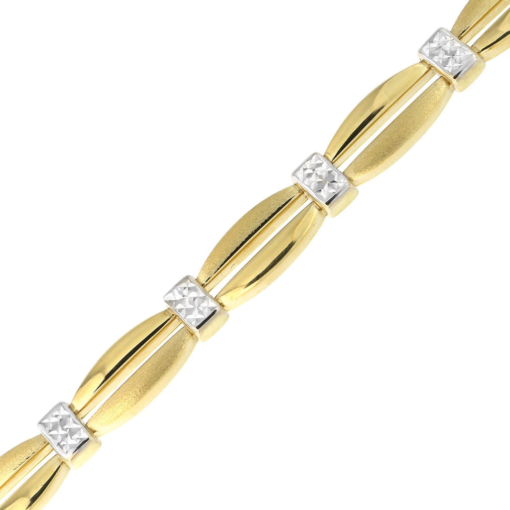 14k Yellow and White Gold Two-Tone Polished & Matte Links with Diamond Cut Stations Bracelet, 7.25""