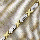 14k Yellow and White Gold Two-Tone Diamond Cut X and O Link Bracelet, 7.25""