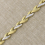 14k Yellow and White Gold Two-Tone Diamond Cut, Matte and Polished Braided Link Bracelet, 7.25""