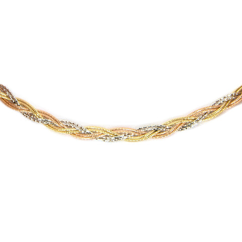 14k Yellow, Rose & White Tri-Color Gold 4mm Diamond-Cut Braided Necklace, 17""