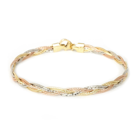 14k Yellow, Rose & White Tri-Color Gold 4mm Diamond-Cut Braided Bracelet, 7.25""