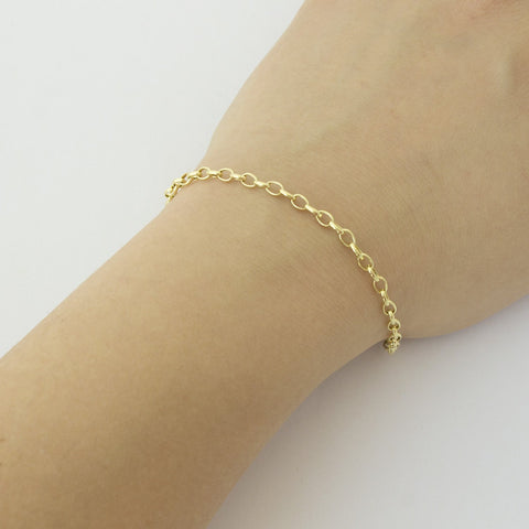 14k Yellow Gold Lightweight 3.2mm Oval Rolo Bracelet, 7""