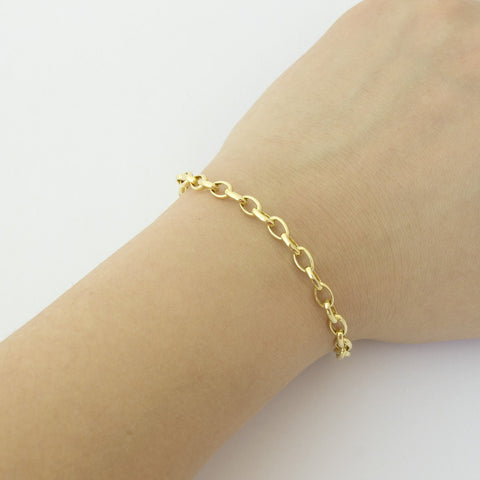 14k Yellow Gold Lightweight 4.6mm Oval Rolo Bracelet, 7""