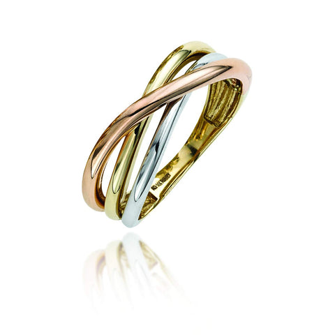 14k Yellow, White and Rose Gold Tri-Color Cross Over Ring, Size 6