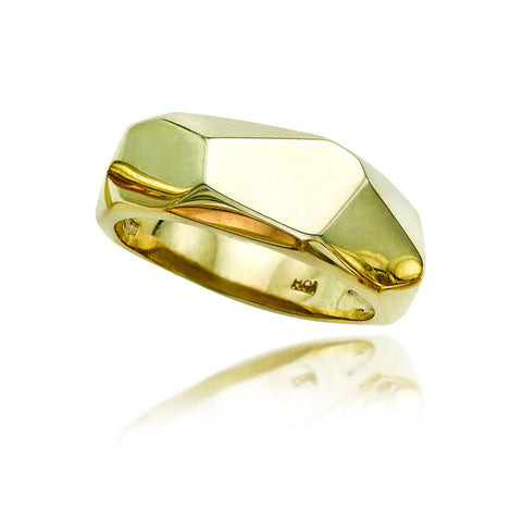 14k Yellow Gold Faceted Band Ring, Size 6