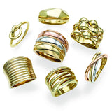 14k Yellow Gold Multi Row Bubble Statement Ring, Size 7