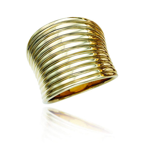 14k Yellow Gold Curved Banded Statement Ring, Size 7