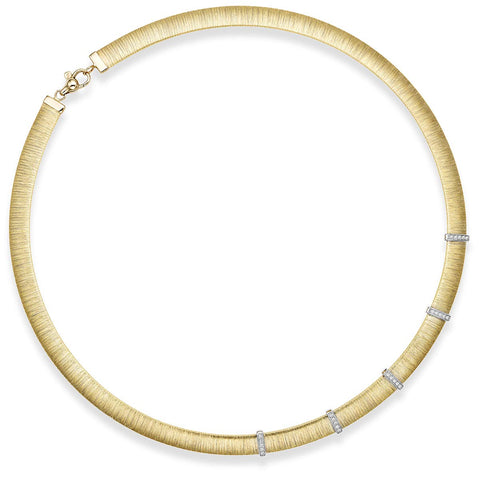14k Yellow and White Gold Two-Tone 0.25ct Diamond Brushed Omega Italian Silk Collar Necklace, 17.75 inches