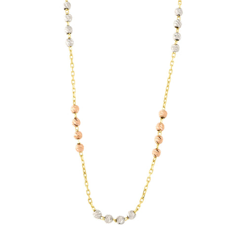 14k Yellow, White and Rose Gold Tri-Color Diamond Cut Bead Station Necklace, 17""