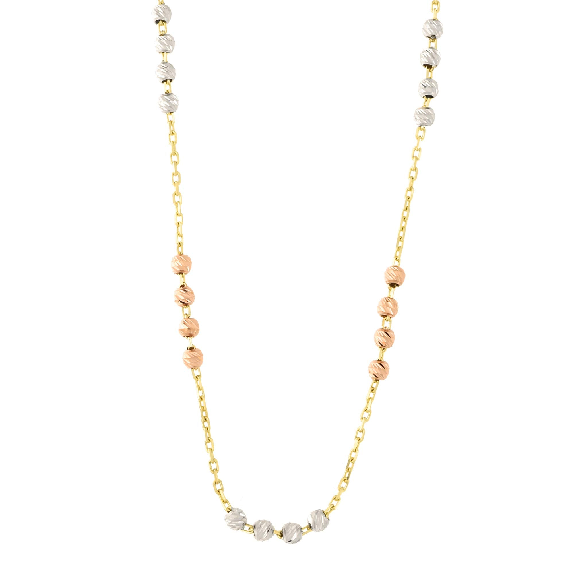 14k Yellow White And Rose Gold Tri Color Diamond Cut Bead Station Nec Beauniq