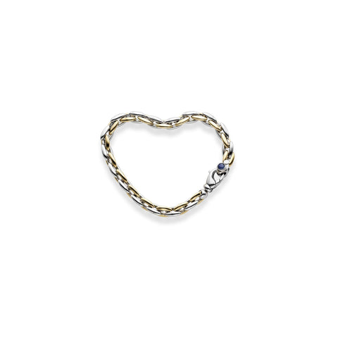 14k Yellow and White Gold Two-Tone Sapphire Fancy Oval Link Bracelet, 7.5 inches