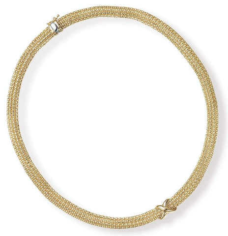 14k Yellow Gold Popcorn Sparkle X Strand Necklace, 18 inches