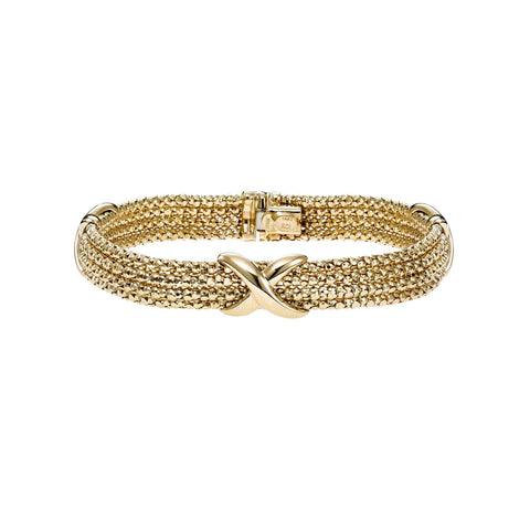 14k Yellow Gold Popcorn Sparkle X Strand Bracelet, 7.25 inches