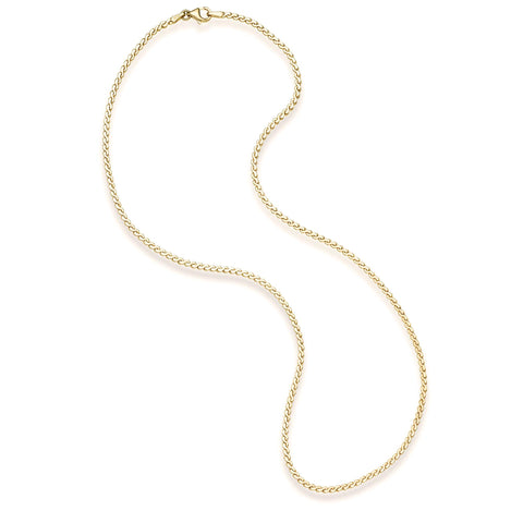 14k Yellow Gold Serpentine Chain Necklace, 18 inches