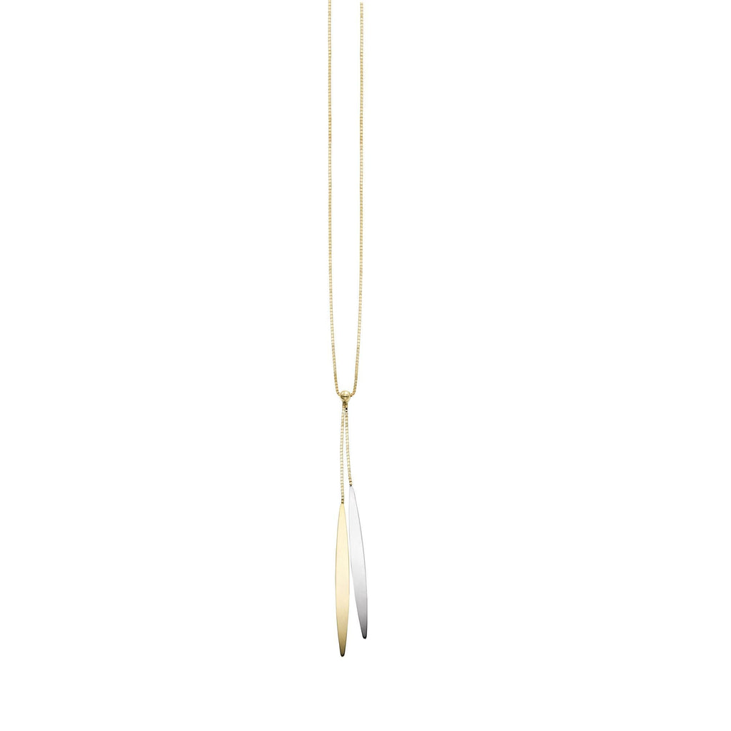 14k Yellow and White Gold Two-Tone Pointed Lariat Necklace, 18 inches