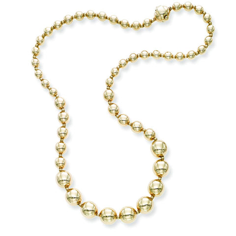 14k Yellow Gold Graduated Bead Necklace, 18 inches