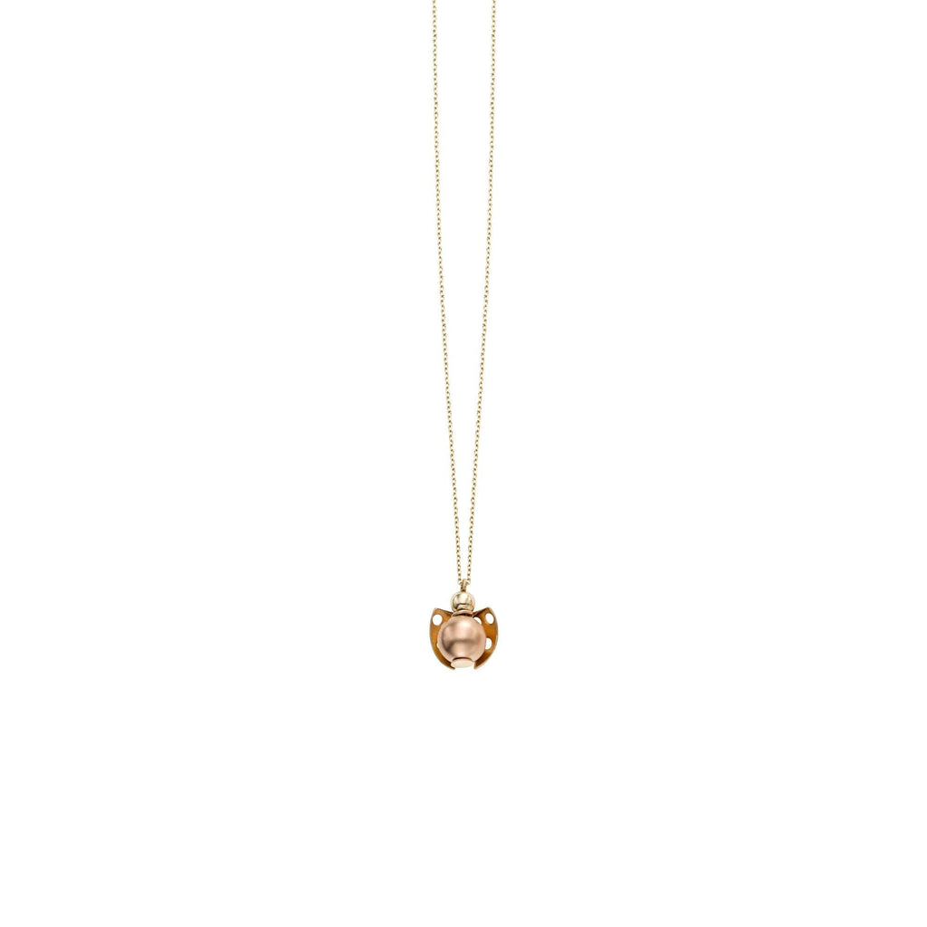 14k Yellow and Rose Gold Two-Tone Ladybug Pendant Necklace, 18 inches