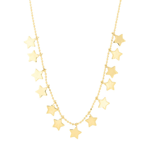 14k Yellow Gold Diamond Cut Bead Chain Star Charm Station Necklace, 17""