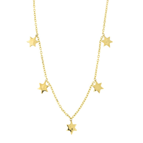 Solid 14k Yellow Gold Dangling Six Point Star Station Necklace, 17""