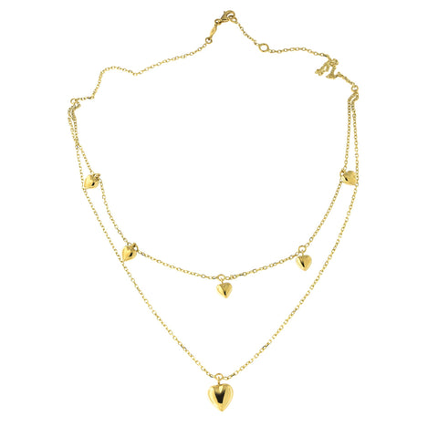 "14k Yellow Gold Double Strand Dangling Hearts Layered Necklace, Adjustable 15.75""-16.5"""