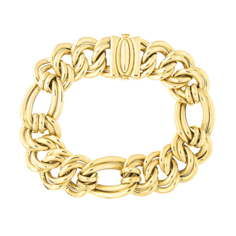 14k Yellow Gold Lightweight 17mm Chunky Wide Double Link Figaro Chain Bracelet, 7.5""