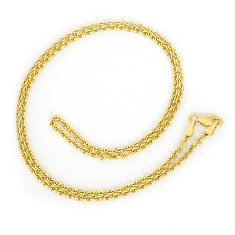 Beauniq 14k Yellow Gold 2.2mm Lightweight Round Cable Forsantina Chain Necklace, 18""