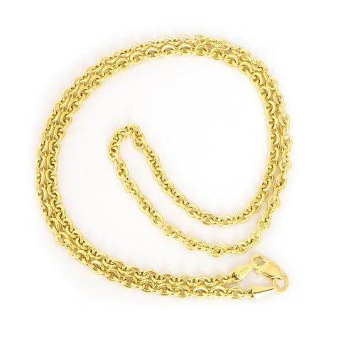 Beauniq 14k Yellow Gold 3.0mm Lightweight Round Cable Forsantina Chain Necklace, 18""