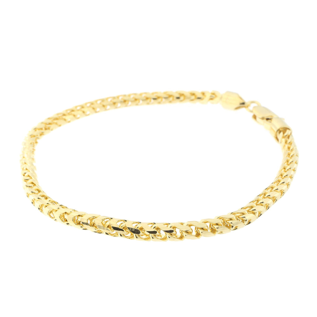 Men's 14k Yellow Gold 4mm Diamond Cut Round Franco Chain Bracelet, 8.75""