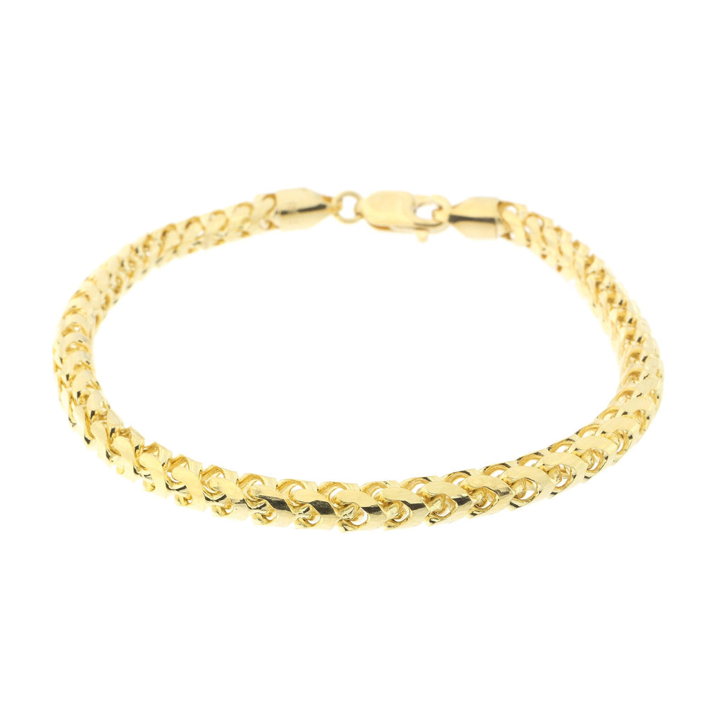 Men's 14k Yellow Gold 5mm Diamond Cut Round Franco Chain Bracelet, 8.75""